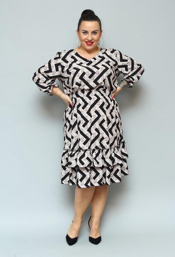 Sukienka KARKO dla puszystych z dekoltem w kształcie litery v