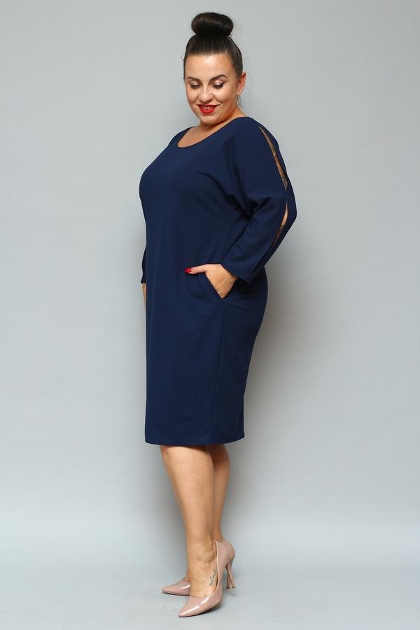 Sukienka KARKO dla puszystych z długim rękawem z okrągłym dekoltem