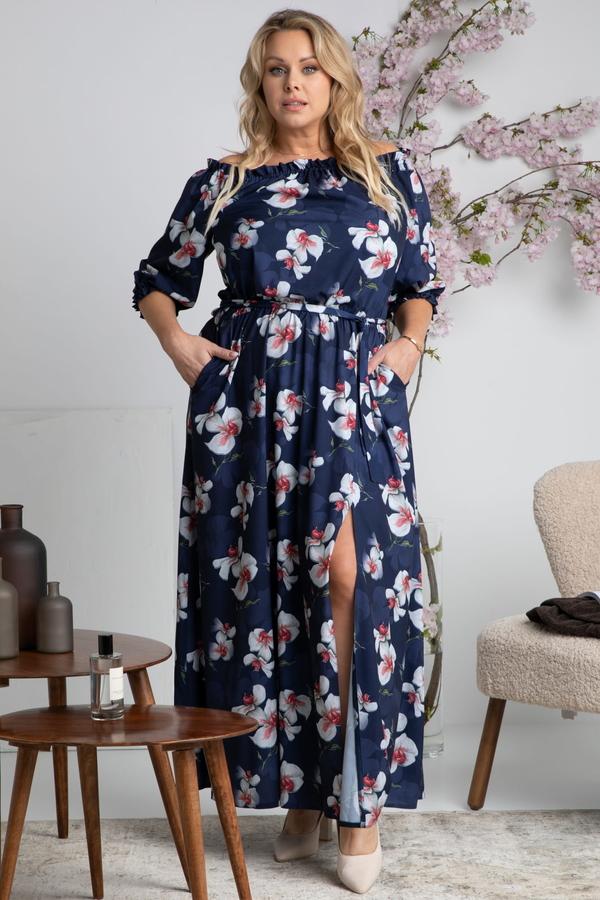 Sukienka KARKO hiszpanka z długim rękawem maxi