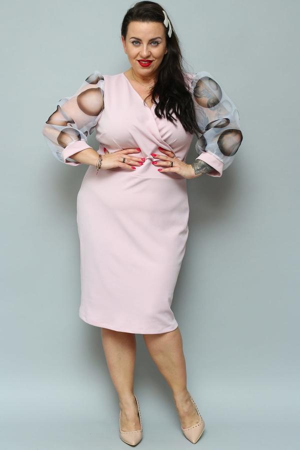 Sukienka KARKO kopertowa midi z długim rękawem
