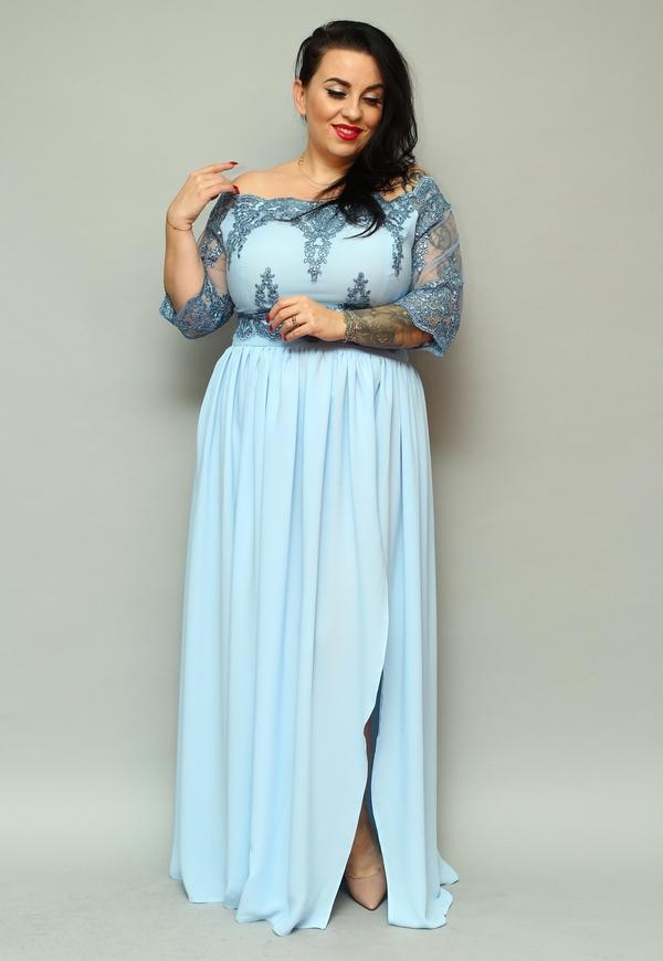 Sukienka KARKO maxi dla puszystych z dekoltem w łódkę