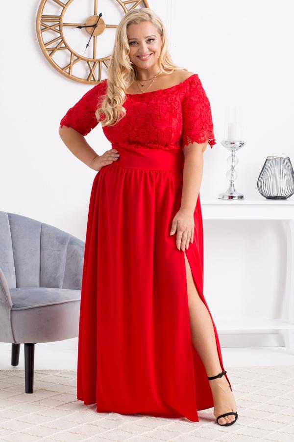 Sukienka KARKO maxi z krótkim rękawem z tkaniny