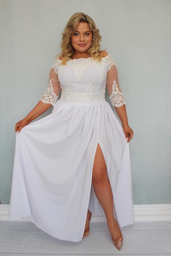 Sukienka KARKO maxi z tiulu dla puszystych