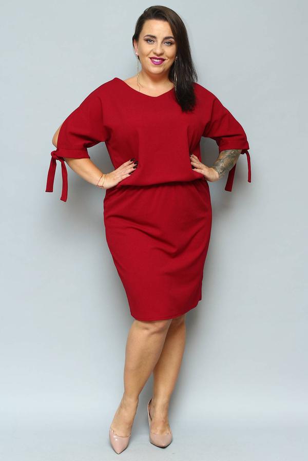 Sukienka KARKO midi dla puszystych z dekoltem w kształcie litery v
