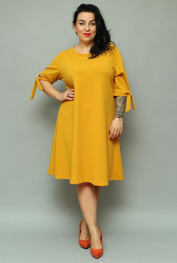 Sukienka KARKO midi z długim rękawem dla puszystych