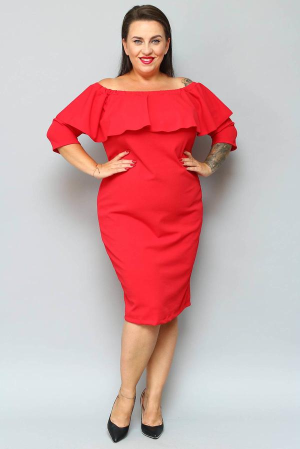 Sukienka KARKO ołówkowa midi z długim rękawem