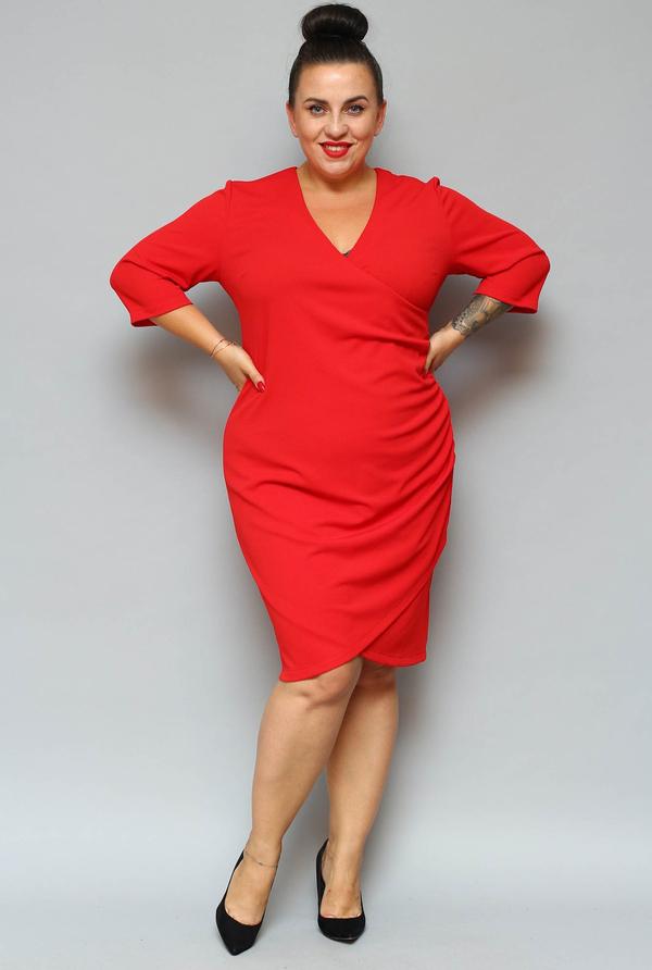 Sukienka KARKO ołówkowa z dekoltem w kształcie litery v