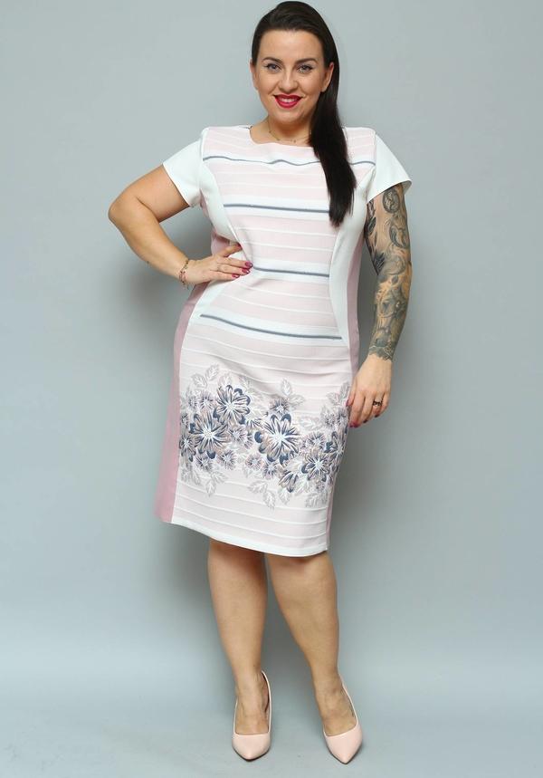 Sukienka KARKO ołówkowa z okrągłym dekoltem z krótkim rękawem