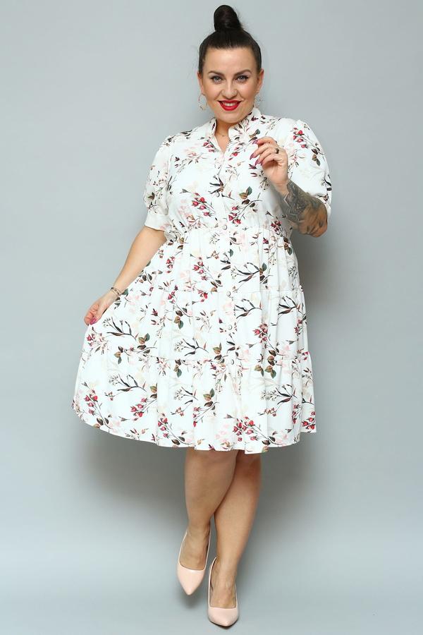 Sukienka KARKO szmizjerka midi z krótkim rękawem