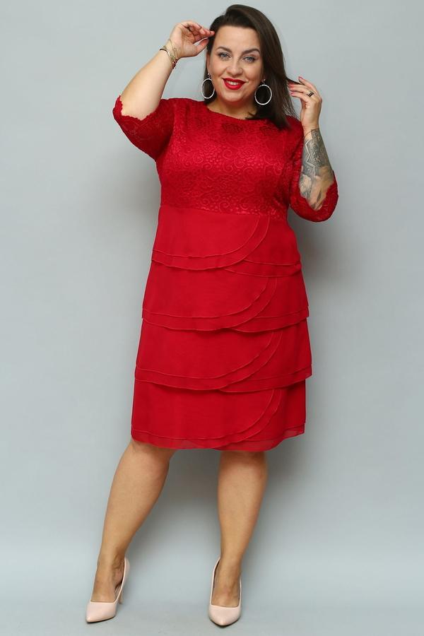 Sukienka KARKO trapezowa midi z krótkim rękawem