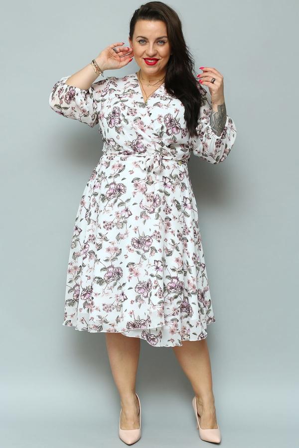 Sukienka KARKO z dekoltem w kształcie litery v midi z szyfonu