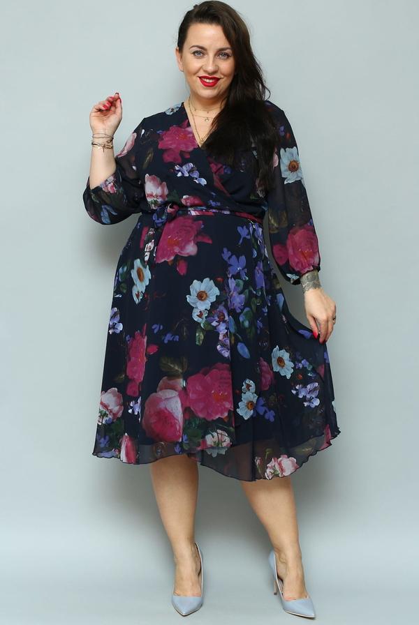 Sukienka KARKO z długim rękawem midi w stylu casual