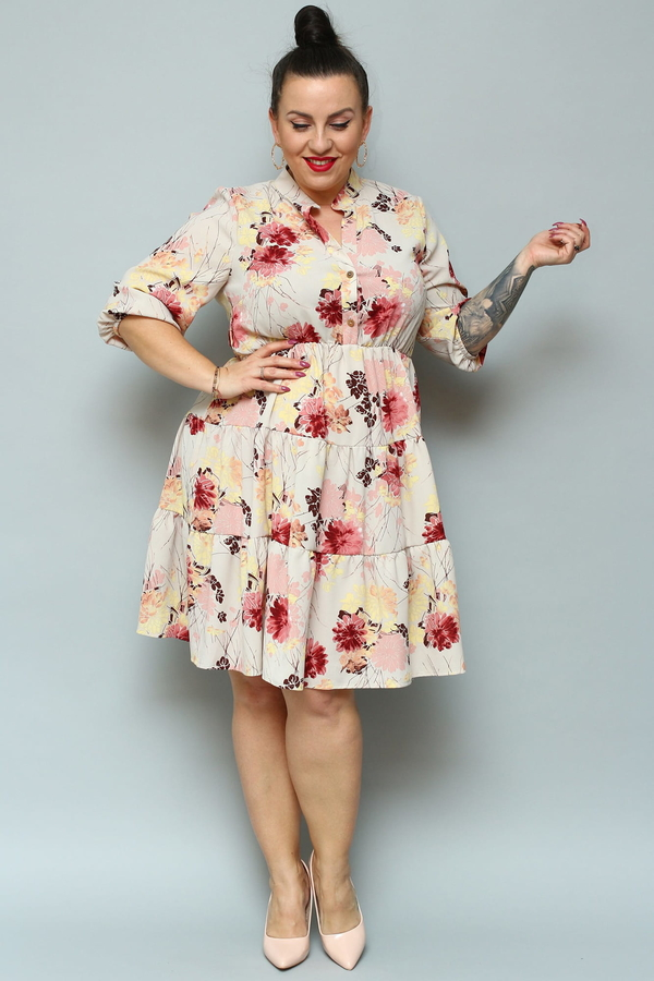 Sukienka KARKO z długim rękawem rozkloszowana