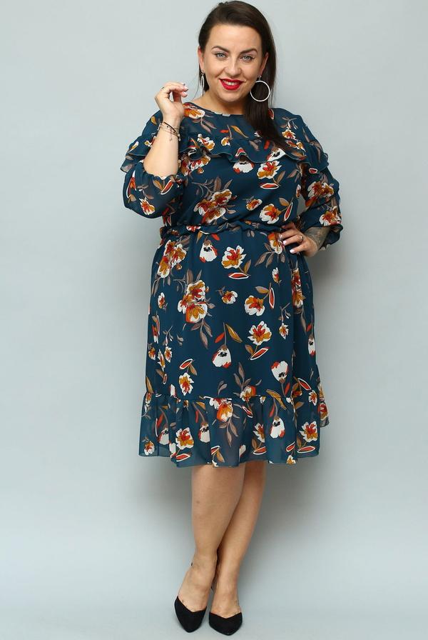 Sukienka KARKO z długim rękawem z szyfonu dla puszystych