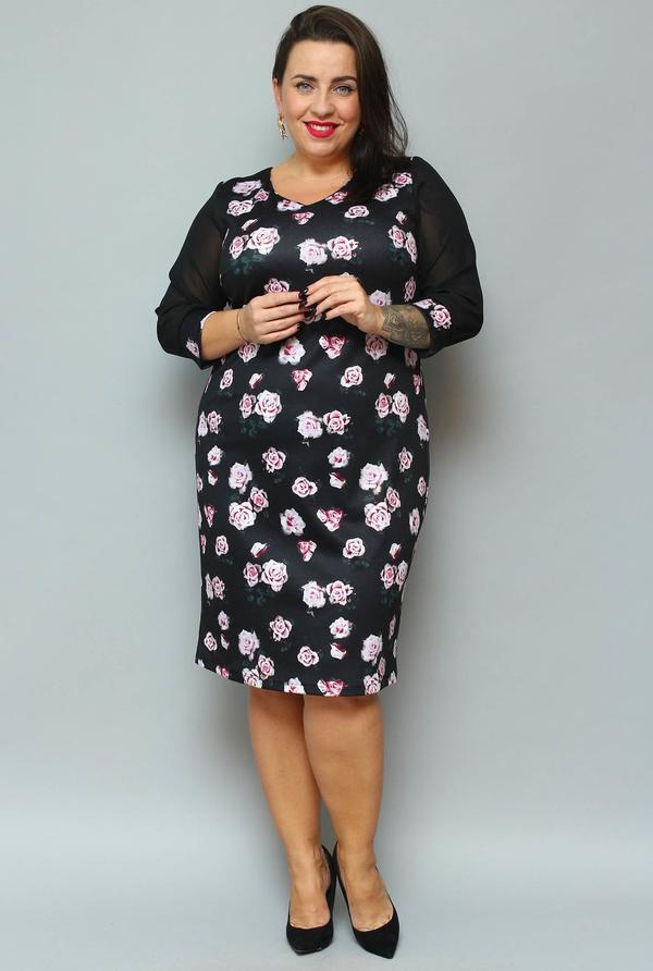 Sukienka KARKO z długim rękawem z tiulu ołówkowa