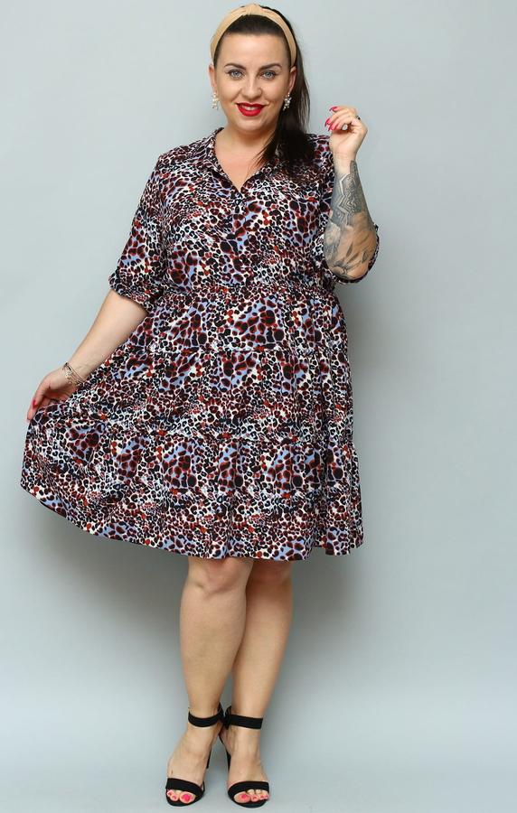 Sukienka KARKO z długim rękawem z tkaniny midi