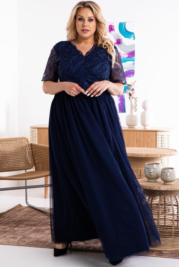 Sukienka KARKO z długim rękawem z tkaniny z dekoltem w kształcie litery v