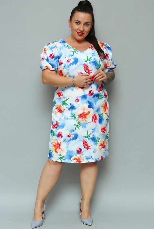 Sukienka KARKO z krótkim rękawem ołówkowa midi