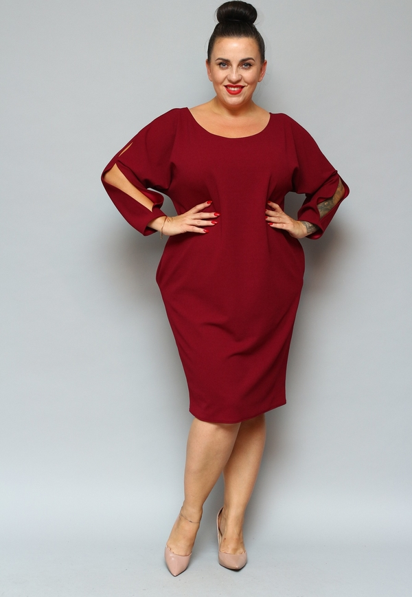 Sukienka KARKO z okrągłym dekoltem dla puszystych z długim rękawem