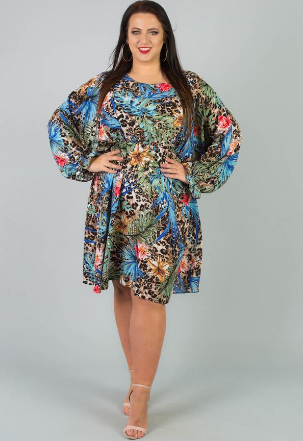 Sukienka KARKO z okrągłym dekoltem z długim rękawem midi