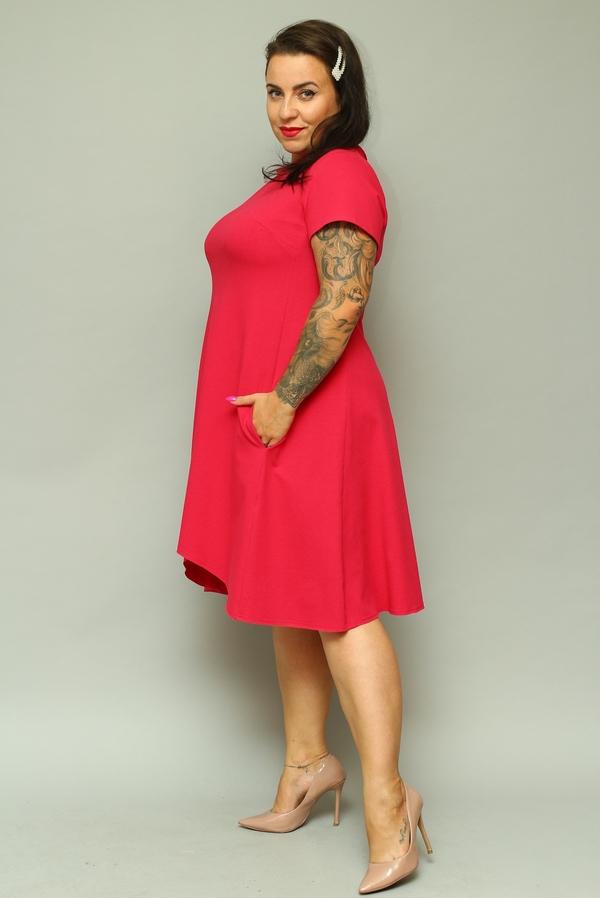 Sukienka KARKO z okrągłym dekoltem z krótkim rękawem midi
