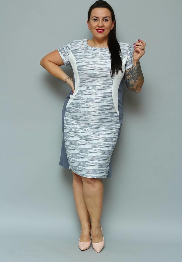 Sukienka KARKO z okrągłym dekoltem z tkaniny