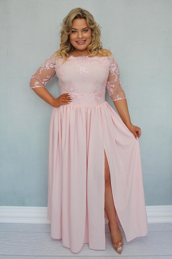 Sukienka KARKO z tiulu dla puszystych bez rękawów