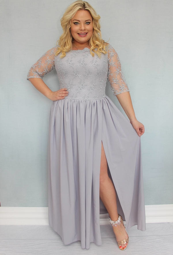 Sukienka KARKO z tkaniny maxi z okrągłym dekoltem