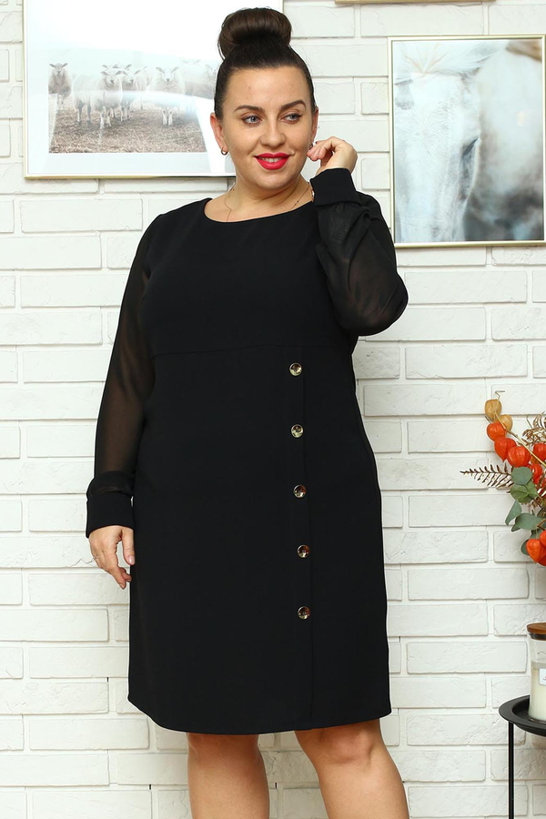 Sukienka KARKO z tkaniny ołówkowa z długim rękawem