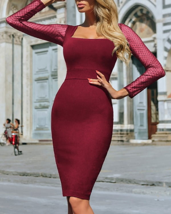 Sukienka Kendallme bodycon hiszpanka z długim rękawem