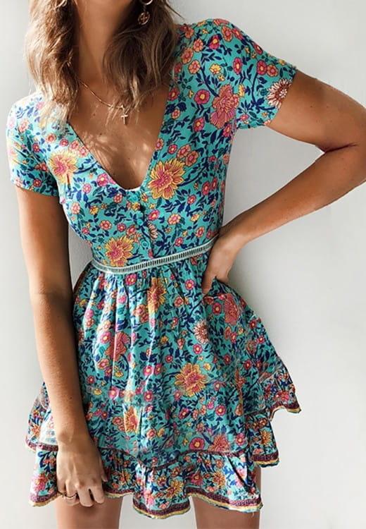 Sukienka Kendallme mini z krótkim rękawem kopertowa