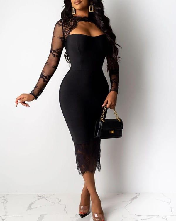 Sukienka Kendallme z długim rękawem dopasowana z okrągłym dekoltem