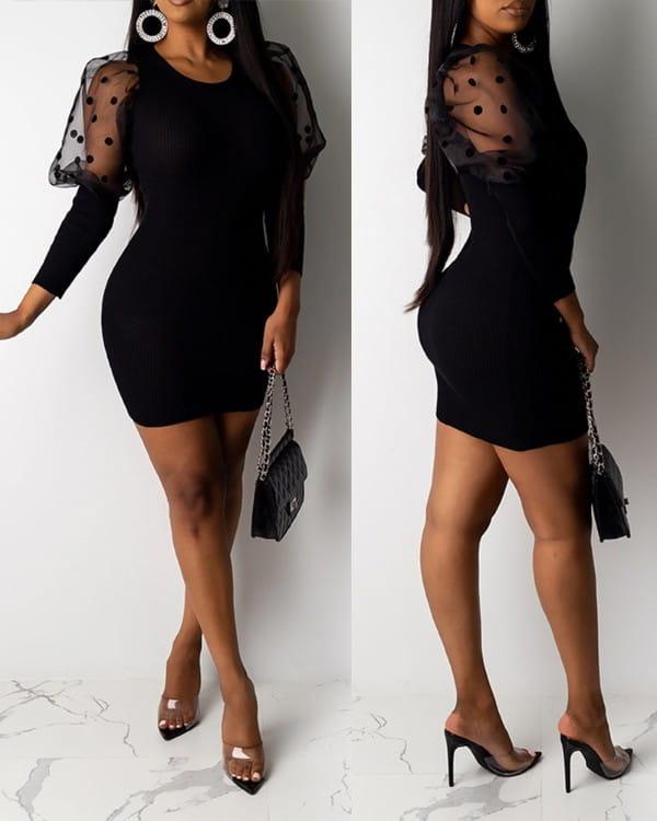 Sukienka Kendallme z długim rękawem mini dopasowana