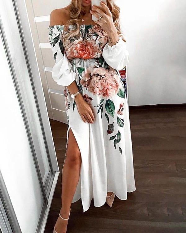Sukienka Kendallme z odkrytymi ramionami maxi