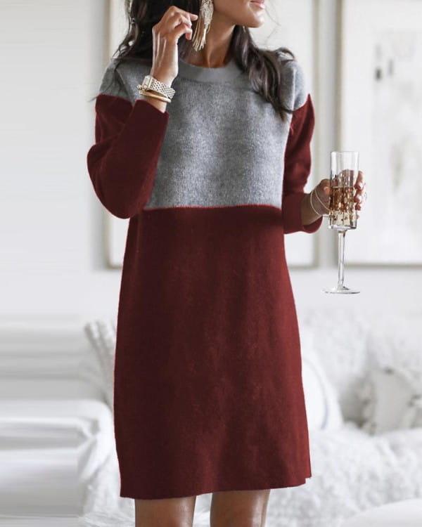 Sukienka Kendallme z okrągłym dekoltem z długim rękawem midi