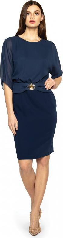 Sukienka L'AF z okrągłym dekoltem z długim rękawem ołówkowa
