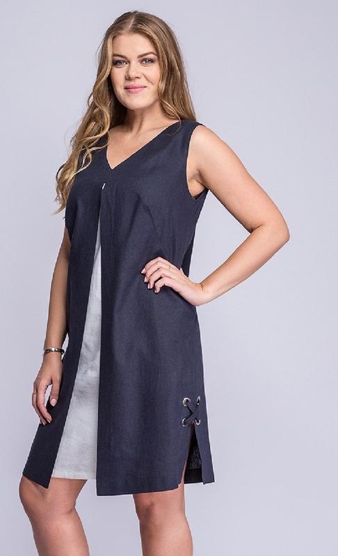 Sukienka La Venne mini bez rękawów z lnu