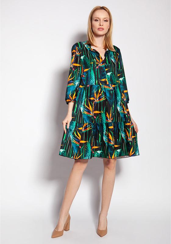 Sukienka Lanti z dekoltem w kształcie litery v z długim rękawem