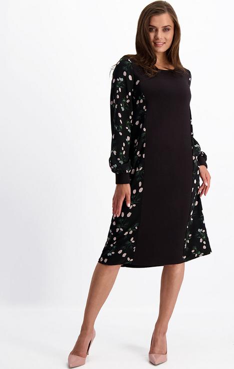 Sukienka Lavard z długim rękawem z okrągłym dekoltem midi