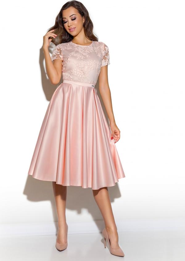 Sukienka LAVIKA midi z okrągłym dekoltem z krótkim rękawem
