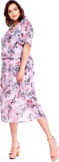Sukienka Le-kri w stylu casual z okrągłym dekoltem z tkaniny