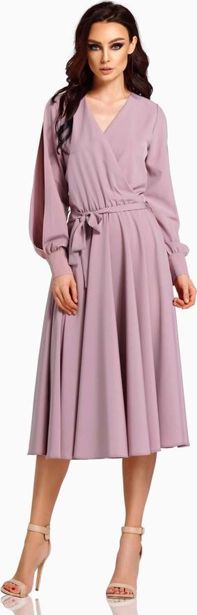 Sukienka Lemoniade midi z długim rękawem z dekoltem w kształcie litery v