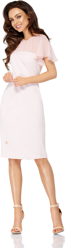 Sukienka Lemoniade z krótkim rękawem z szyfonu dopasowana