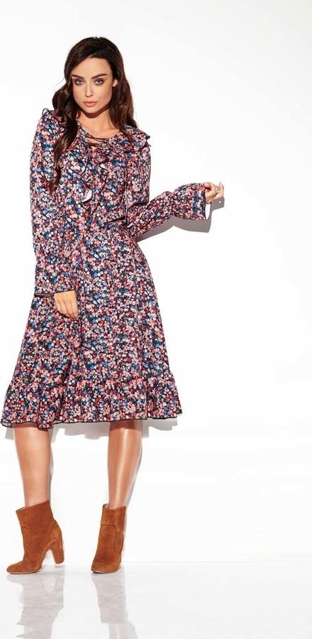 Sukienka Lemoniade z okrągłym dekoltem z długim rękawem midi
