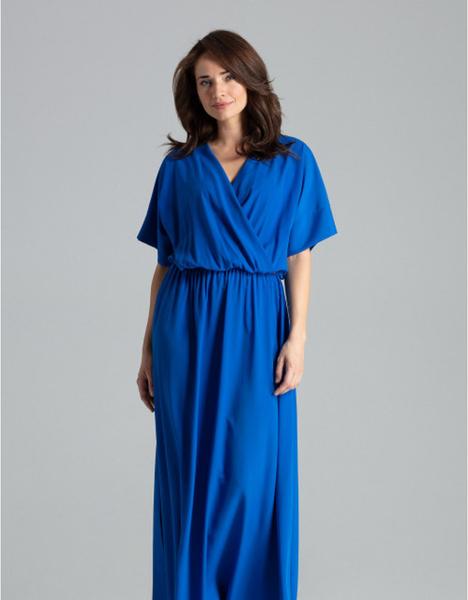 Sukienka LENITIF maxi z dekoltem w kształcie litery v z krótkim rękawem