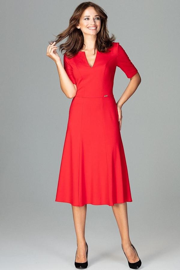 Sukienka LENITIF rozkloszowana z krótkim rękawem midi