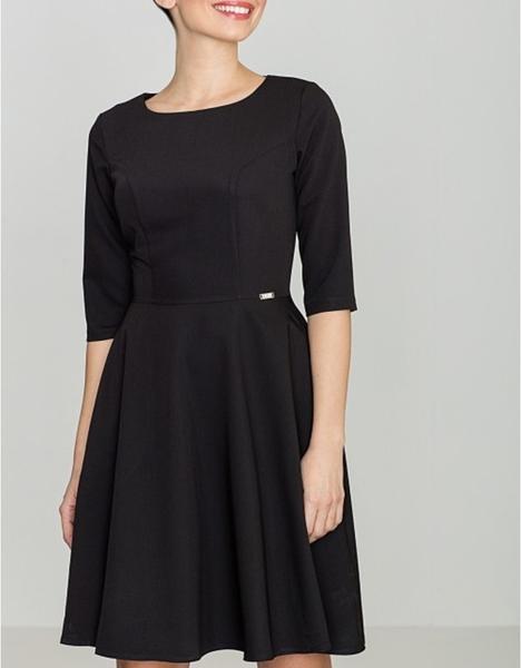 Sukienka LENITIF z długim rękawem midi rozkloszowana