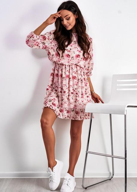 Sukienka Ligari Dresses mini z długim rękawem z dekoltem w kształcie litery v