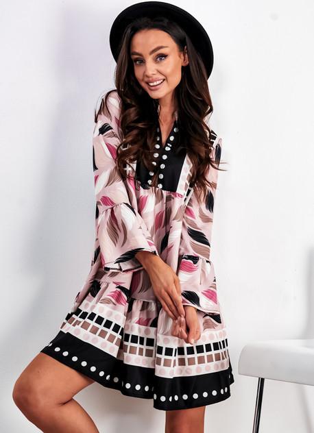 Sukienka Ligari mini z długim rękawem