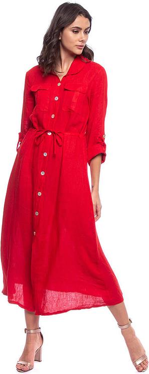 Sukienka Lin Passion w stylu casual koszulowa maxi